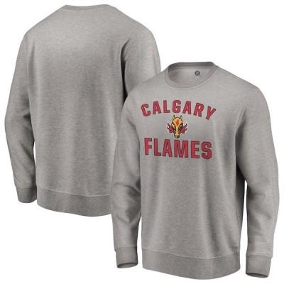 ファナティクス ブランデッド メンズ パーカー・スウェット アウター Calgary Flames Fanatics Branded Special Edition Victory Arch Pullover Sweatshirt