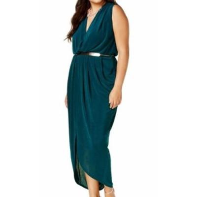 City Chic シティシック ファッション ドレス City Chic NEW Green Womens Size 20W Plus Belted Shinny Sheath Dress