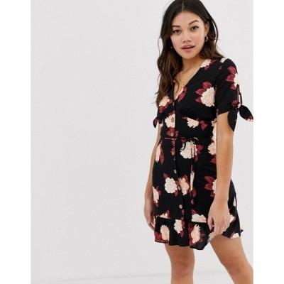 ミスセルフフリッジ レディース ワンピース トップス Miss Selfridge tie sleeve tea dress in black floral Black