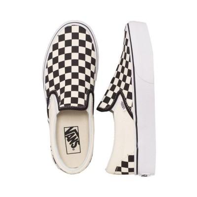 ヴァンズ Vans レディース スリッポン・フラット シューズ・靴 - Classic Slip-On Platform Black And White Checker/White - Shoes black