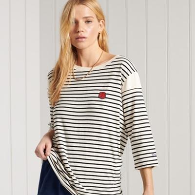 SUPERDRY 女裝 短袖T恤 COLG IVY LEG 條紋