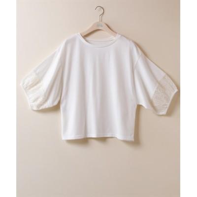 【大きいサイズ】 袖口レース切替ショート丈プルオーバー【ESTACOT】 plus size T-shirts, テレワーク, 在宅, リモート