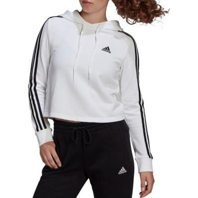 アディダス パーカー・スウェットシャツ アウター レディース adidas Women's Essentials 3-Stripes Cropped Hoodie White/Black