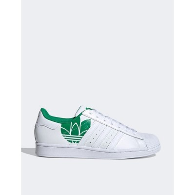 アディダスオリジナルス メンズ スニーカー シューズ adidas Originals superstar sneakers with 3D trefoil in green White