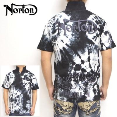ノートン Norton 服 アパレル 212N1202 半袖ポロシャツ バイカームラ染めポロ 刺繍  バイク バイカー メンズ トップス