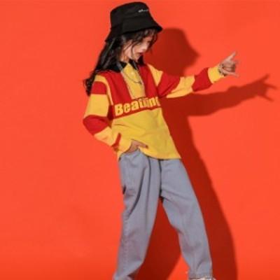 ジャズダンス ジュニア キッズダンス衣装 HIPHOP 体操服 女の子 ヒップホップ デニムパンツ ダンストッ長袖  発表会 練習着