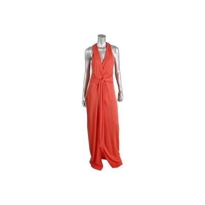 ホルストンヘリテイジ ドレス ワンピース Halston Heritage 2126 レディース オレンジ Slit Keyhole Halter Evening ドレス 8 BHFO