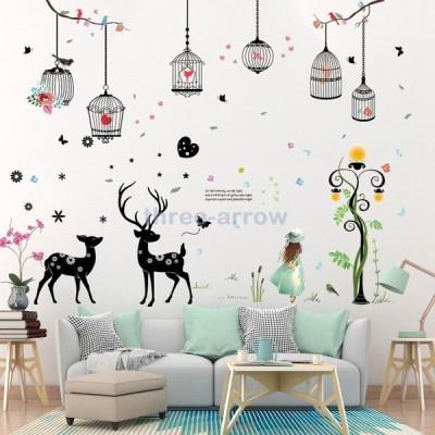 ウォールステッカー ウォールシール シール ステッカー 壁用ステッカー 装飾 壁装飾 鳥かご 鳥 女の子 英語 英字 鹿 蝶 木 子供部屋 リビング