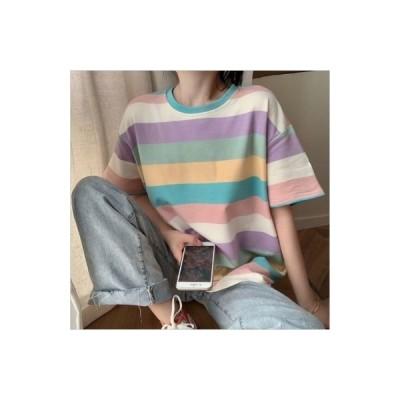 Tシャツ レディース 半袖 韓国風 トップス 可愛い ゆったり 虹色 ボーダー カラフル カジュアル レインボー パステル 春 夏 原宿系 カットソー ファッション