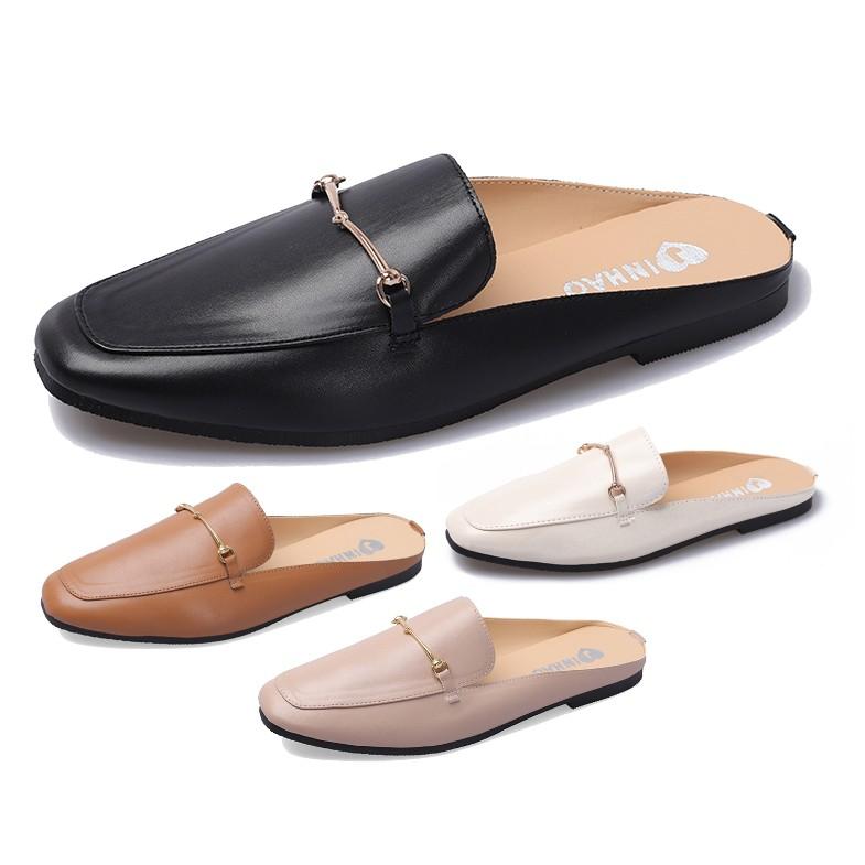 【白鳥麗子】 穆勒拖鞋 MIT金屬鍊條簡約平底拖鞋