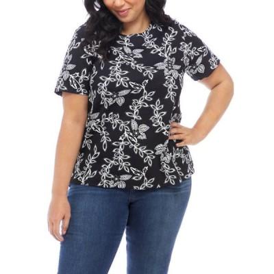 キム ロジャース レディース Tシャツ トップス Plus Size Short Sleeve Mega Print Top