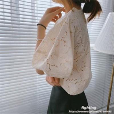 レース ブラウス レディース 花刺繍 トップス 体型カバー きれいめ 綿 シャツ 無地 シンプル 出かけ オフィス カジュアル 可愛らしい ふ