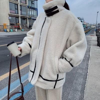フリースジャケット 無地 ゆったり オーバーサイズ 大人可愛い カジュアル フェミニン こなれ感 冬春 お出かけ デート 女子会