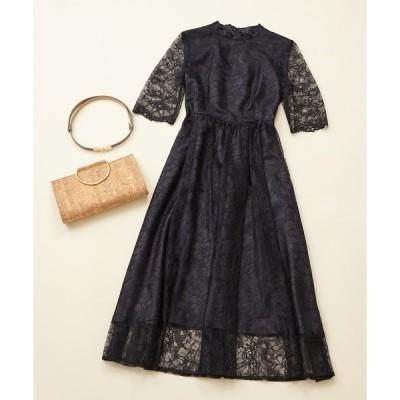 ドレス 【WEB限定】パーティスタイル3点セット 《ラッセルレースドレスブラック×ベージュコーディネートSET》 / 結婚式・2次会・パーティードレス