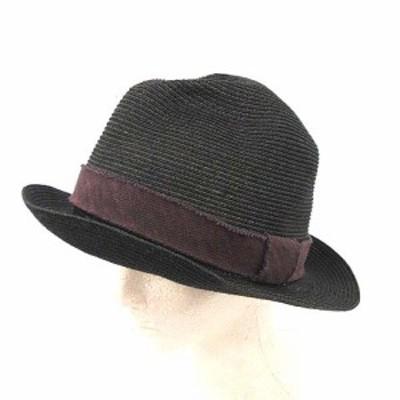 【中古】ダブルジェイケイ wjk 帽子 ストローハット F ダークグレー 紫 8102 xx16r /YM メンズ