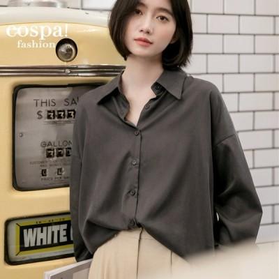 シャツ レディース 長袖 無地 とろみ ゆったり シック おしゃれ 韓国 着痩せ色