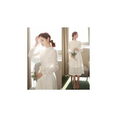 ワンピース 清楚ホワイト&きれいなフラワーレース+美ライン/1色 us-0162