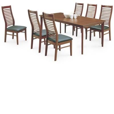ダイニングテーブルセット 6人掛け テーブル幅180cm ダイニングテーブル x1 ダイニングチェア x6 食卓テーブルセット ブラウン 北欧 モダン オーク突板