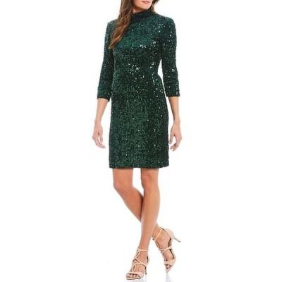 ドナモーガン レディース ワンピース トップス Stretch Sequin Velvet Open Back 3/4 Sleeve Mini Dress