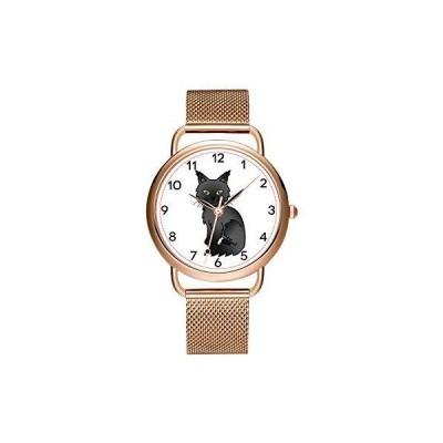 レディ-ス腕時計 ブランド ラグジュアリ- レディ-ス メッシュベルト 超薄型 防水 時計 クォ-ツ 腕時計  ブラック レザ- ストラップ ウォッチ