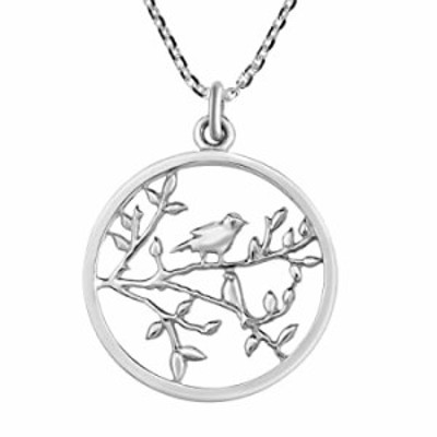 Beautiful Nightingale Bird on a Branch .925 Sterling Silver Round Pendant Necklace