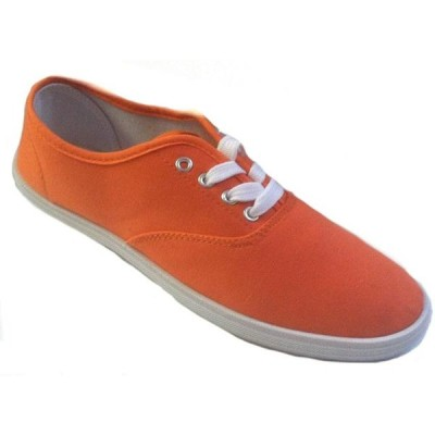 レディース 靴 スニーカー Shoes 18 Womens Canvas Shoes Lace up Sneakers 18 Colors Available (6 Neon Orange 324)