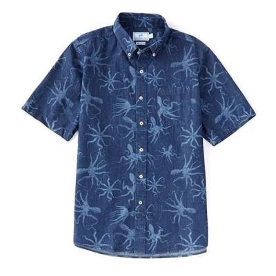 サウザーンタイド メンズ シャツ トップス Octo Indigo Print Short-Sleeve Woven Shirt
