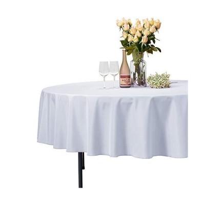 VEEYOO 丸形/長方形/正方形の無地ポリエステルテーブルクロス 結婚式/レストラン/パーティーに Round-70 inch ホワイト VYZB1