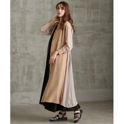 【大きいサイズ】 「la farfa 20年9月号掲載!」MOODE バックギャザー異素材シャツワンピース ワンピース, plus size dress