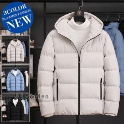中綿ジャケット メンズ 無地ジャケット 厚手ジャケット 防寒着 中綿入り フード付き アウター 暖かい