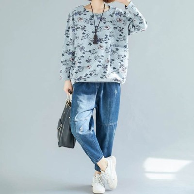 20代 30代 安い 花柄 着痩せ レディース 長袖Tシャツ 体型カパー ブルー トレーナー カットソー ブラウス かわいい プルオーバー ゆったり感