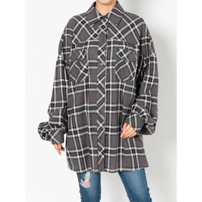【公式】GYDA(ジェイダ)ボリュームスリーブBIGチェックシャツ