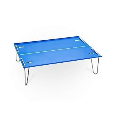 キャンプテーブル おりたたみ コンパクト アルミ 超軽量396g 耐熱 ミニ 収納袋付き 持ち運び便利(ブルー)