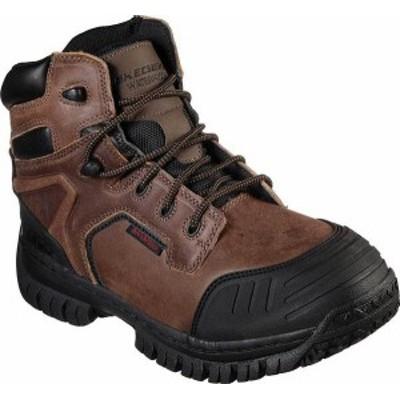 スケッチャーズ メンズ ブーツ・レインブーツ シューズ Men's Skechers Work Hartan Caledon Waterproof Boot Dark Brown