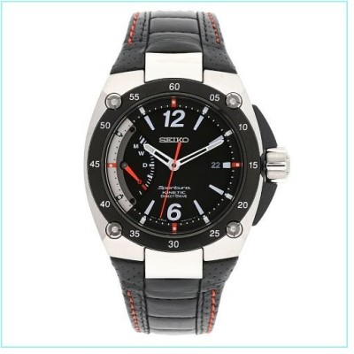 Seiko Men's SRG005P2 Sportura Stainless Steel Black Dial Automatic Leather Strap Watch【並行輸入品】