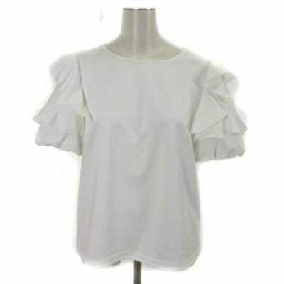 【中古】エムプルミエ M-Premier couture 18SS 半袖 カットソー バルーン袖 フリル 白 ホワイト 38 IBS71 レディース