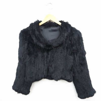 【中古】エフデ ef-de ジャケット アウター ファー 無地 長袖 9 ブラック 黒 /MT15 レディース 【ベクトル 古着】