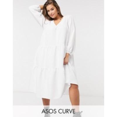 エイソス レディース ワンピース トップス ASOS DESIGN Curve seersucker tiered midi smock dress in white White