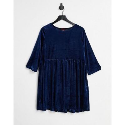 アーバン スレッド  レディース ワンピース トップス Urban Threads velour mini smock dress in navy Navy