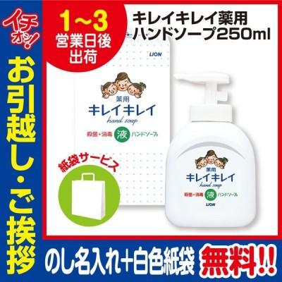 引っ越し 挨拶 品物 ギフト ライオン キレイキレイ 薬用 ハンドソープ 250ml (のし+手提げ紙袋付)
