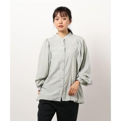 シャツ ブラウス バンドカラーボリュームスリーブ/シャツ