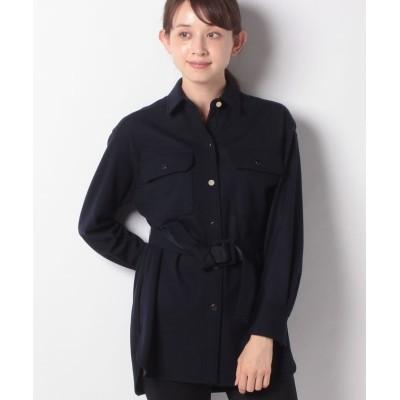 【アナイ】 ウールアッシュクロングシャツ(ベルト付き) レディース ネイビー 38 ANAYI