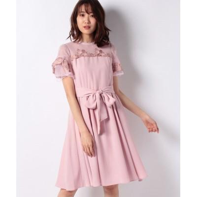 【レッセ・パッセ】 ハイネック刺繍ドレス レディース ピンク ベージュ 38 LAISSE PASSE