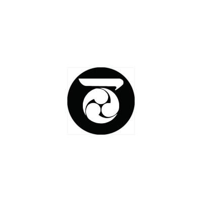 家紋シール 一の字に三つ巴紋 直径15cm 丸型 白紋 KS15M-0105W