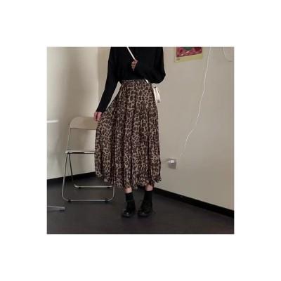 【送料無料】秋 レトロなヒョウ柄 スカートと長いセクション 女 何でも似合う ハイウ   364331_A63834-3715215