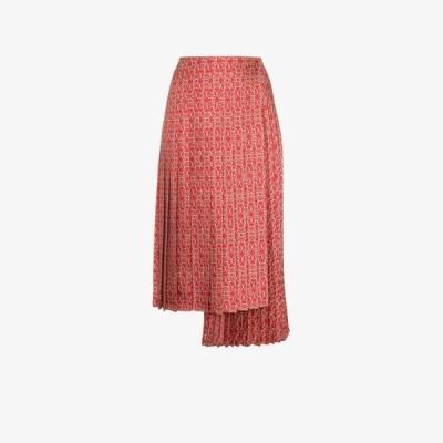 フェンディ Fendi レディース ひざ丈スカート スカート Gate print silk midi skirt red