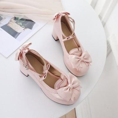 シューズ レディース LOLITA 可愛い ロリータ靴 ストラップ メイド靴 女の子 快適  パンプス ロリータシューズ お嬢様 ゴスロリ靴