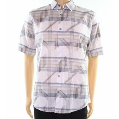 Alfani  ファッション アウター Alfani White Blue Beige Mens Size 3XL Grid-Print Button Down Shirt