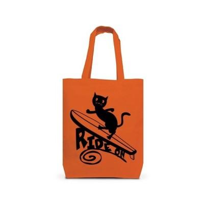 サーフィンをする黒猫 トートバッグM(オレンジ)