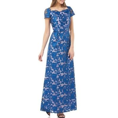 ジェイエスコレクションズ レディース ワンピース トップス Illusion Lace Scallop Square Neck A-Line Gown